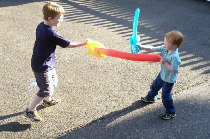 A sword fight before bedtime!