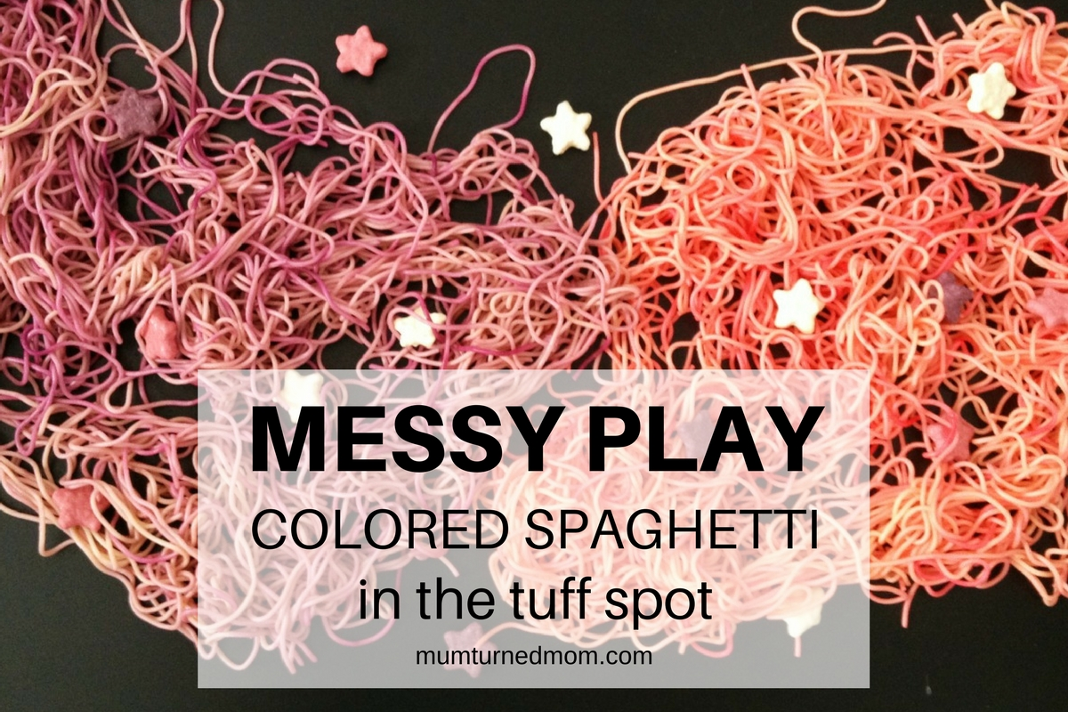 Mess: colored spaghetti in the tuff spot | mumturnedmom