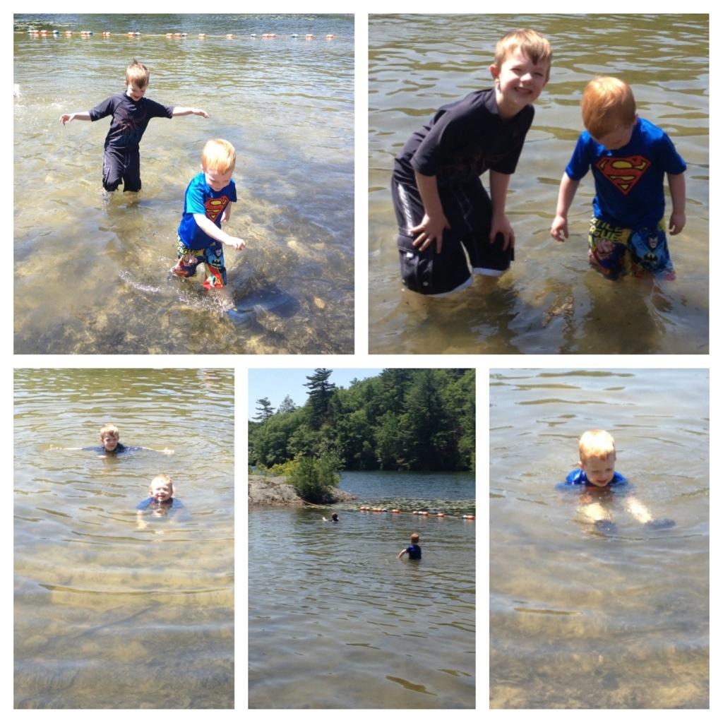 First swim at the beach 2