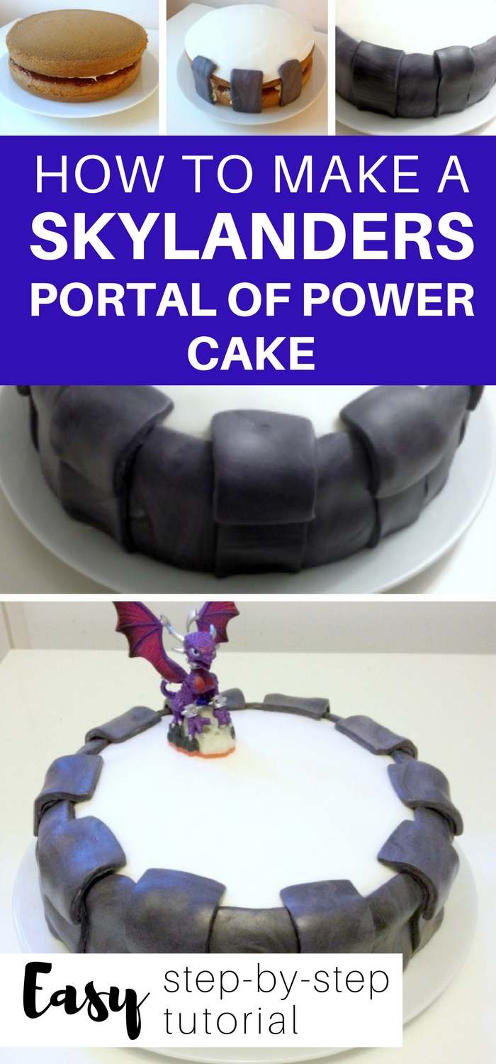 How to make a Skylanders Portal of Power Cake: easy step by step instructions to make a portal of power. Easily adapted for different portals! #skylanders #skylanderscake