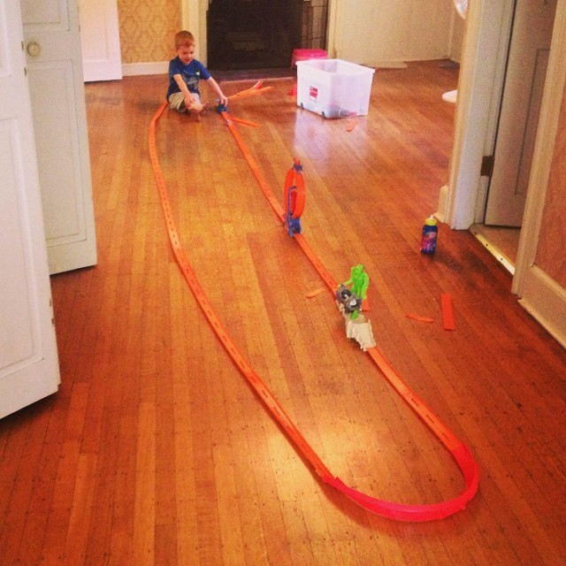 This mornings activity, massive hot wheels track :)