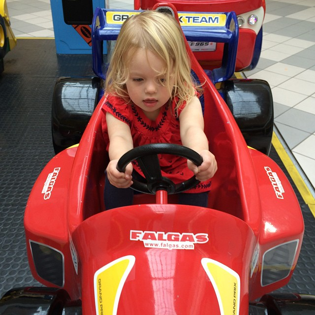 It's a serious business driving a racing car!