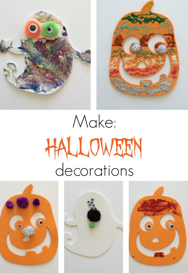 Halloween Decorations: easy craft for kids with foam shapes, pom poms, googly eyes and glitter glue.