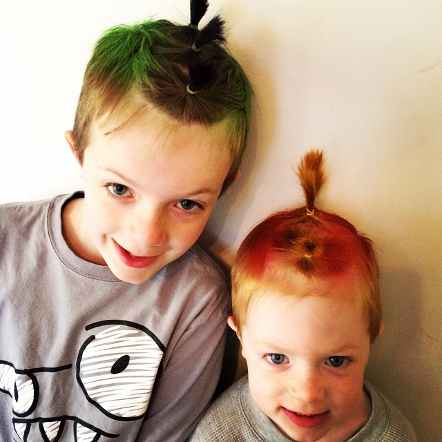 Crazy hair day... The 5yo wanted a Mohican that was on fire... No pressure :) But, two happy boys!