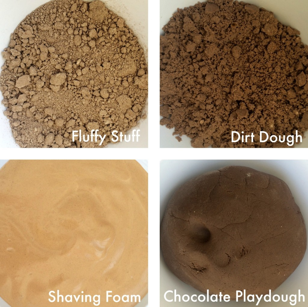 The Mud: Fluffy Stuff, Dirt Dough, Shaving Foam, Playdough