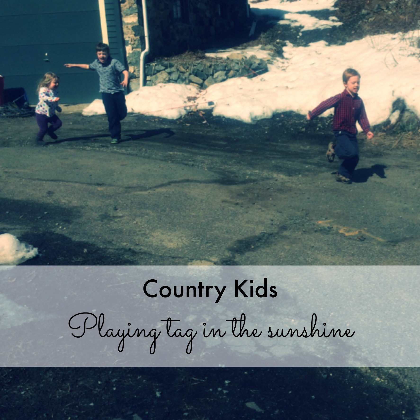 Country Kids: playing tag in the sunshine