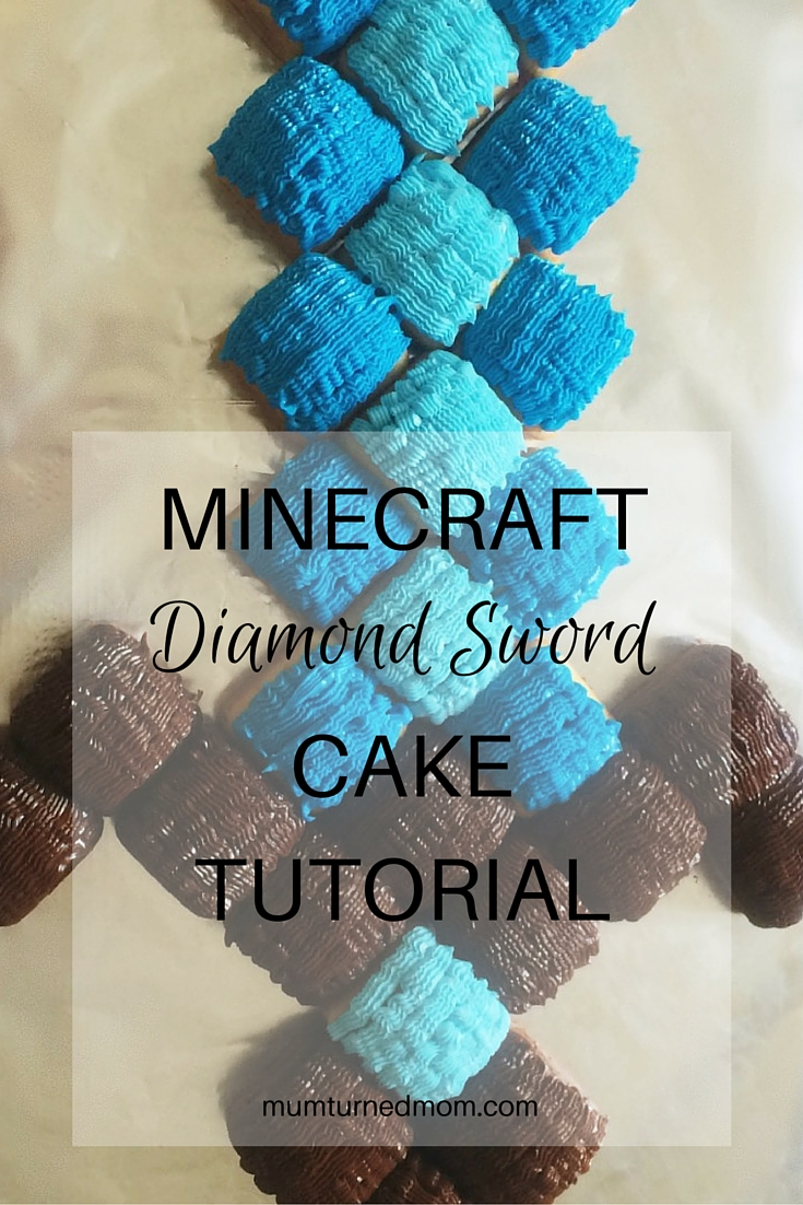 MINECRAFT DIAMOND SWORD CAKE TUTORIAL: Step By Step Instructions To Make  This Minecraft Sword Out