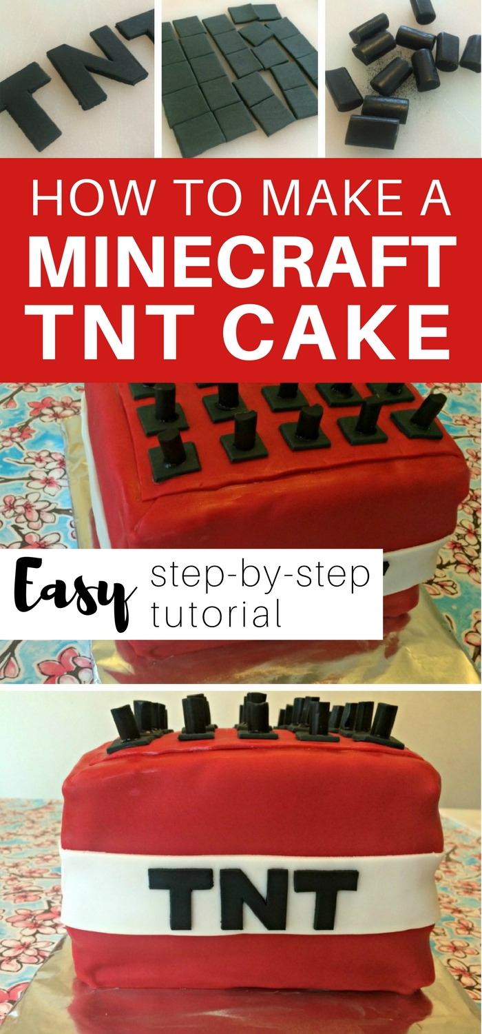 How to make a Minecraft TNT Cake - EASY step by step tutorial #minecraft #minecraftcake #minecraftparty