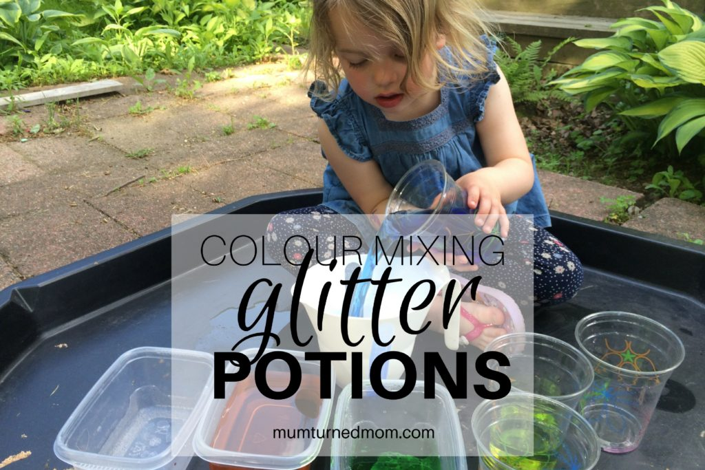 messy play color mixing glitter potions in the tuff spot mumturnedmom