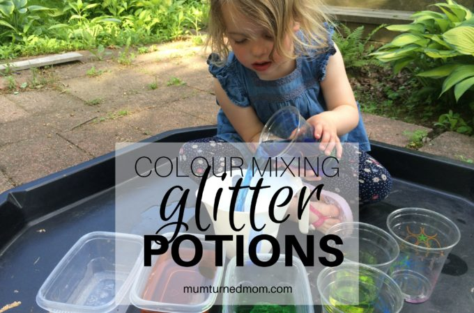 Mess: colour mixing glitter potions