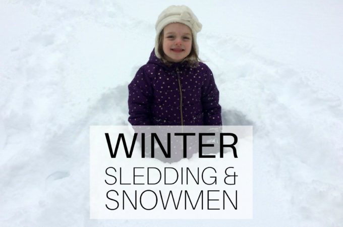 Winter: sledding and snowmen