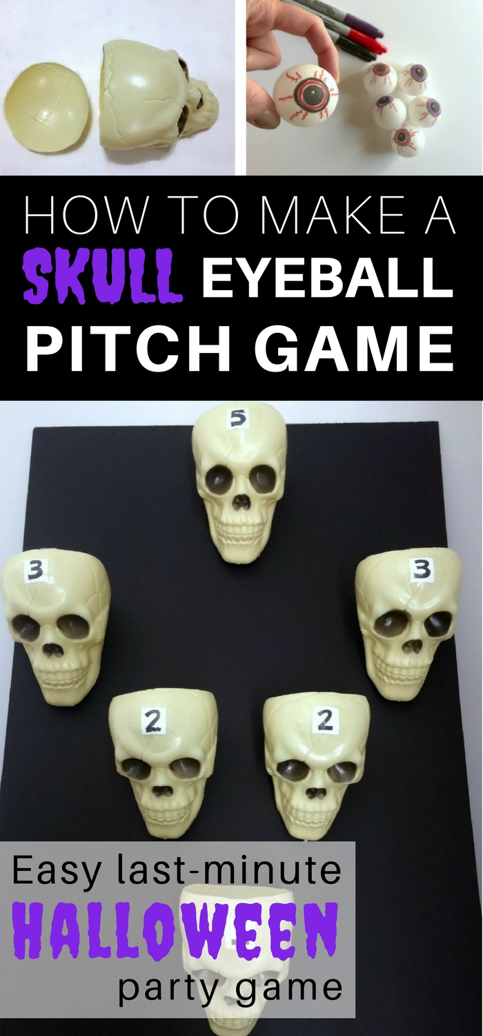 How to make a Skull Eyeball Pitch game for your Halloween Party: follow these instructions for an easy last-minute Halloween Party game