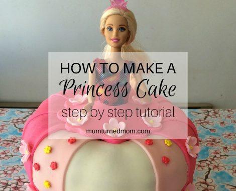 How to make a Princess Cake: easy, step by step tutorial to create a princess cake using a layered cake, a Barbie and fondant icing.
